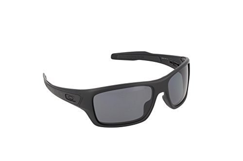 Oakley Men's Turbine OO9263-07 Polarized Rectangular Sunglasses, Matte Black, 65 mm