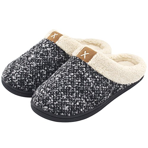 ULTRAIDEAS Women's Comfort Memory Foam Slippers Wool-Like Plush Fleece Lined House Shoes w/Indoor, Outdoor Anti-Skid Rubber Sole (Medium/7-8 B(M) US, Black)
