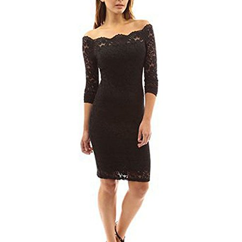 Fashion Long Sleeve Off Shoulder Cocktail Party Floral Lace Bodycon Dresses for Women (Large, Black)