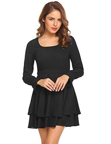 Aceshin Women A-line Dress Long Sleeve Chiffon Cocktail Swing Dress Black XL