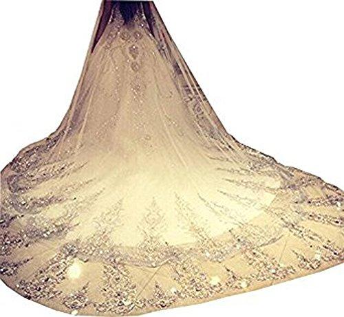 Edith qi 1 Tier Appliqued Mantilla Cathedral Wedding Veil Long Wedding Accessories