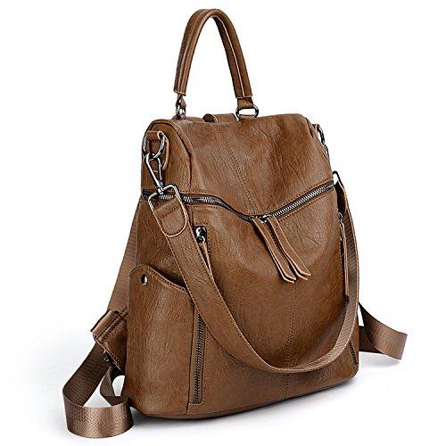 d453d58c23 UTO Women Backpack Purse PU Washed Leather 3 Ways Ladies Rucksack Zipper  Shoulder Bag A Brown