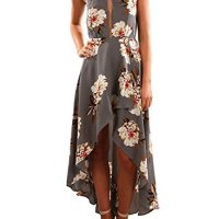 ZESICA Women's Halter Neck Floral Printed High Low Beach Party Maxi Dress,Grey,Small