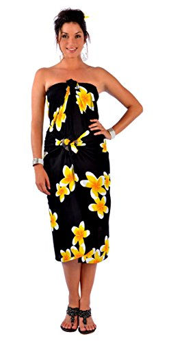 1 World Sarongs Womens PLUS Size Fringeless (TM) Plumeria Sarong in Black/Yellow