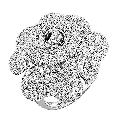 3.65 Carat (ctw) 14K White Gold Round Diamond Ladies Blossom Flower Rose Right Hand Ring (Size 7)