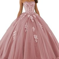 Aurora Bridal Women's Lace Tulle Beaded Ball Gowns Blush Quinceanera Dresses 16