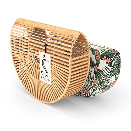 Bamboo Handbag – Womens Basket Bag with Purse Insert – Handmade Summer Tote
