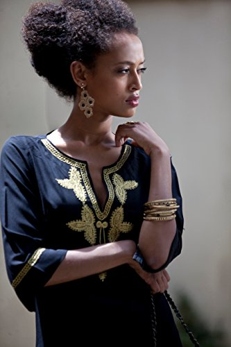 Boho Short Black and Gold Moroccan Caftan, Gold Embroidery Dress, Hippie Ethnic Woman's Dress