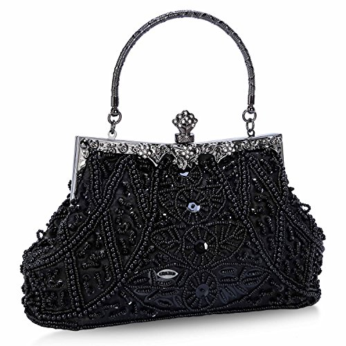 Chichitop Women's Vintage Beaded And Sequined Evening Bag Wedding Party Handbag Clutch Purse, Black