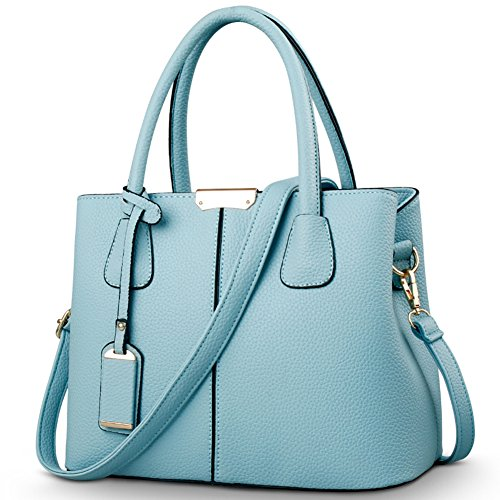 Covelin Women's Top-handle Cross Body Handbag Middle Size Purse Durable Leather Tote Bag Light Blue
