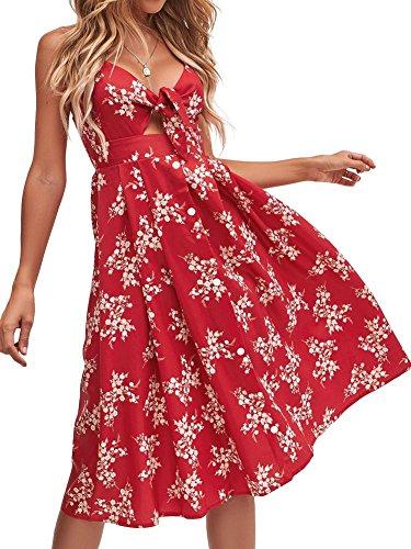FANCYINN Womens Floral Prints Tie Front Button Down Spaghetti Strap Midi Dress Red S