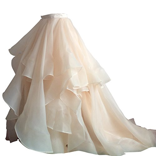 Flowerry Women Organza Skirt Bridesmaid Formal Skirt Prom Wedding Party Bridal Skirt L champagne