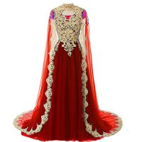 Kivary Gold Lace Vintage Long Prom Evening Dress Wedding Gown with Cape Wine Red US 16