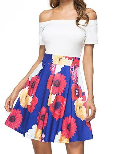 Lyrur Women's Off Shoulder Dress for Wedding Guest Floral Swing Style (US4, 9010-A006)