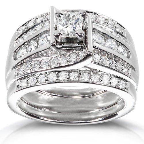 Princess Diamond Wedding Ring Set 1 1/10 Carat (ctw) in 14K White Gold (3 Piece Set)
