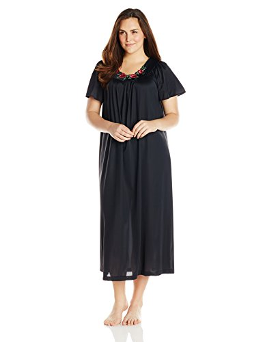 Shadowline Women's Plus-Size Petals 53 Inch Short Flutter Sleeve Long Gown, Black, 1X