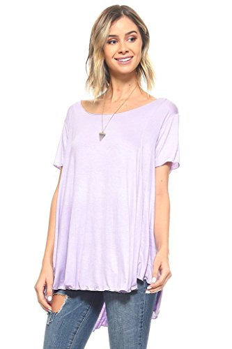 Simplicitie Women's Short Sleeve Loose Fit Flare Flowy T Shirt Tunic Top – Regular and Plus Size – Lavender – Made in USA
