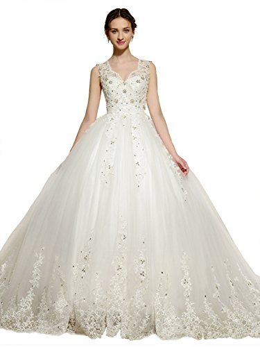Sisjuly Women's Straps Beaded Lace Appliques Ball Gown Wedding Dress 6 White