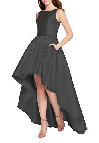 YORFORMALS High Low Satin Plus Size Evening Prom Dress Formal Gown Long With Pockets Size 18 Black