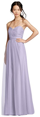 David's Bridal Strapless Tulle Long Bridesmaid Dress with Removable Belt Style W10888, Iris, 20