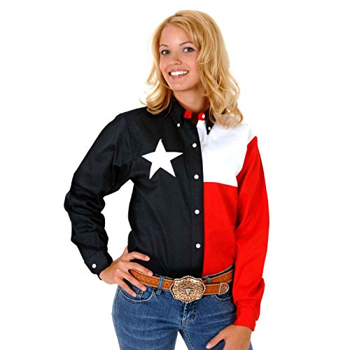 Roper Women's Long Sleeve Texas Flag Shirt Plus Navy 1X