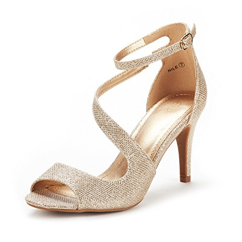 DREAM PAIRS Women's NILE Gold Glitter Fashion Stilettos Open Toe Pump Heel Sandals Size 8.5 B(M) US