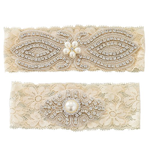 Ivory Lace Bridal Garter Belts Set with Silver Crystal Applique Stretch Plus Size for Bride Wedding Accessories