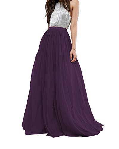 CoutureBridal Women's Bridal Prom Tulle Long Skirt Party Floor Length Dark Purple