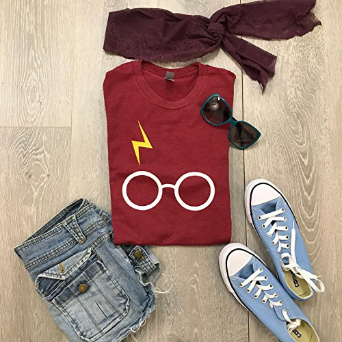 Harry Potter. Harry Potter Glasses. Hand Made. Made To Order. Unisex Fit. Harry Potter T Shirt. Thunder Bolt With Glasses. Smog Blue Color. Crew Neck Shirt.
