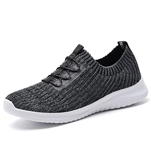 KONHILL Women's Lightweight Athletic Running Shoes Walking Casual Sports Knit Workout Sneakers, D.Gray, 41