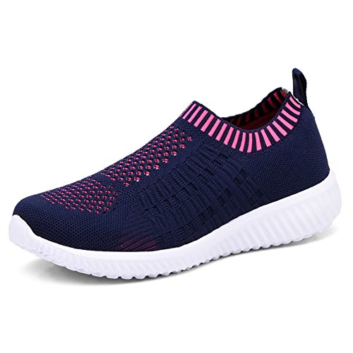 KONHILL Women's Lightweight Casual Walking Athletic Shoes Breathable Mesh Running Slip-on Sneakers, Navy, 41