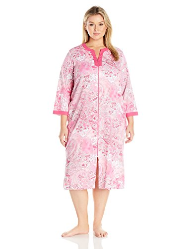 Miss Elaine Women's Plus Size Interlock Knit Long Robe, Large Cranberry/Pink Paisley, 2X