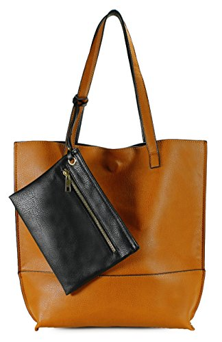 Scarleton Trendy Reversible Tote Bag H20182501 – Camel/Black