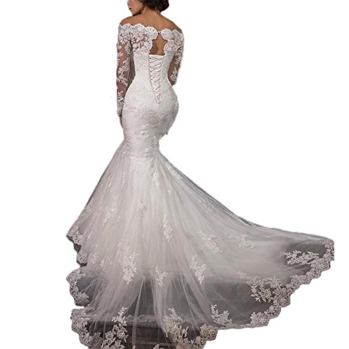 Thrsaeyi Gorgeous Mermaid Wedding Dresses Lace Applique Bridal Gowns Beaded Long Sleeve Wedding Gowns Ivory,18