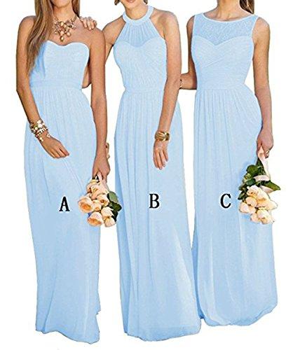 Vweil Long Rustic Chiffon Lace Bridesmaid Dress Long Formal Evening Prom Gowns Light Blue US8