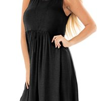 Womens Summer Casual Sleeveless Cotton Tunic Dress A-Line Round Neck Solid Color Pleated Sundress Black M