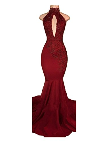 alilith.Z Sexy High Neck Backless Long Mermaid Prom Dresses Beaded Appliques Lace Evening Dresses for Women 2018