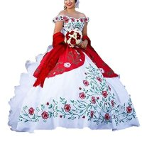 Diandiai Ball Gown Off Shoulder Quinceanera Dresses Embroidery Ruffles Bridal Dresses 4