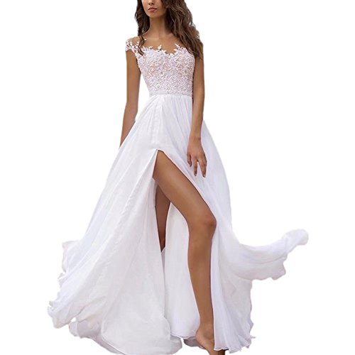 89306665dfef Holygift Women's A-Line Double V Neck Chiffon Lace Cap Sleeves Beach Wedding  Dresses Bridal Gown White 14