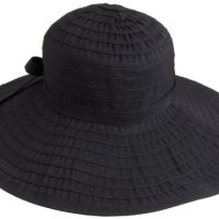 San Diego Hat Company Women's Ribbon Large Brim Hat,Black,One Size