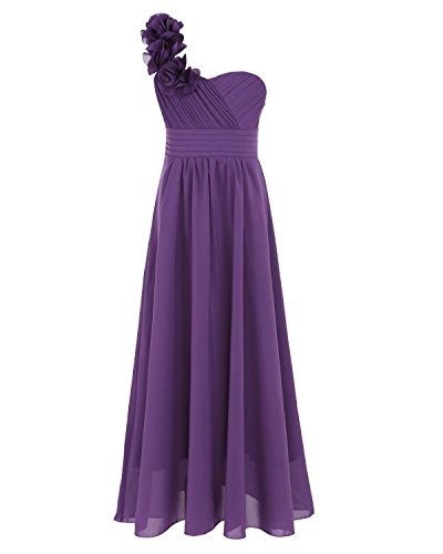TiaoBug Girls Chiffon Flower One-Shoulder Princess Wedding Party Bridal Dress Purple 14