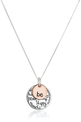 """Two-Tone Sterling Silver """"Be"""" Graffiti Charm Necklace, 18″"""