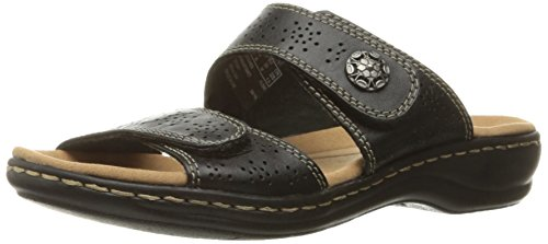 CLARKS Women's Leisa Lacole Slide Sandal, Black Leather, 8.5 M US