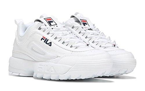 Fila Women's Disruptor II Premium Sneakers, White Navy Red, 8.5 M US