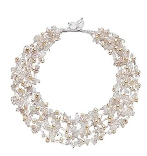 """HinsonGayle """"Isabella"""" 5-Strand Handwoven Crystal & White Freshwater Cultured Pearl Necklace"""