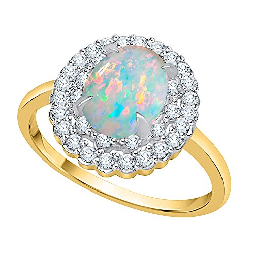 KATARINA Diamond and Oval Cut Opal Double Halo Ring in 14K Yellow Gold (3/4 cttw, G-H, I2-I3) (Size-7)