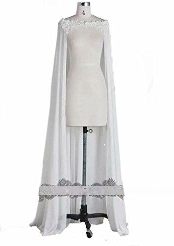 Lavendel Off Shoulder Chiffon Appliques Lace Long Wedding Cape Bridal Cloak