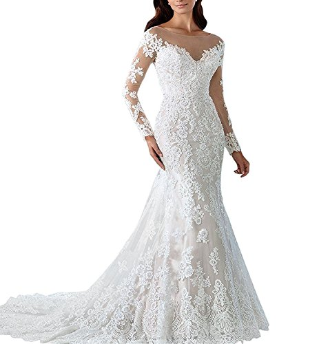 LL Bridal Women's Floral Lace Bridal Gown Mermaid Long Wedding Dresses 2018 for Bride Size 16