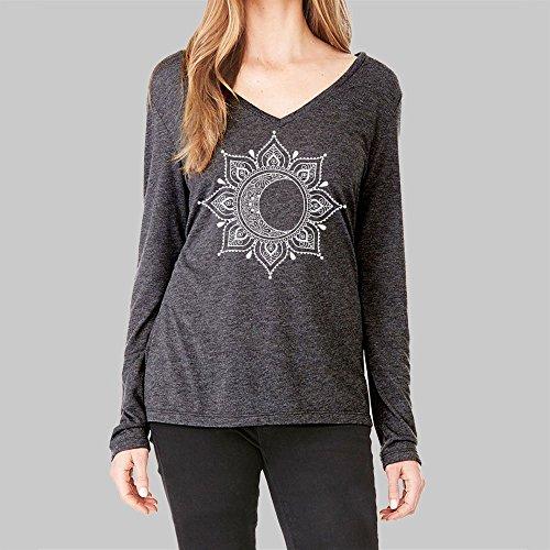Long Sleeve V Neck T Shirt Women Moon Mandala Graphic Bella Flowy 2 Colors