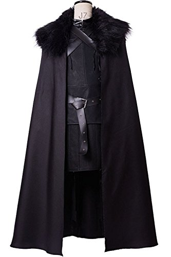 Sidnor GoT Game of Thrones Night's Watch Jon Snow Cosplay Costume Outfit Suit Dress (Female:Medium, As shown)